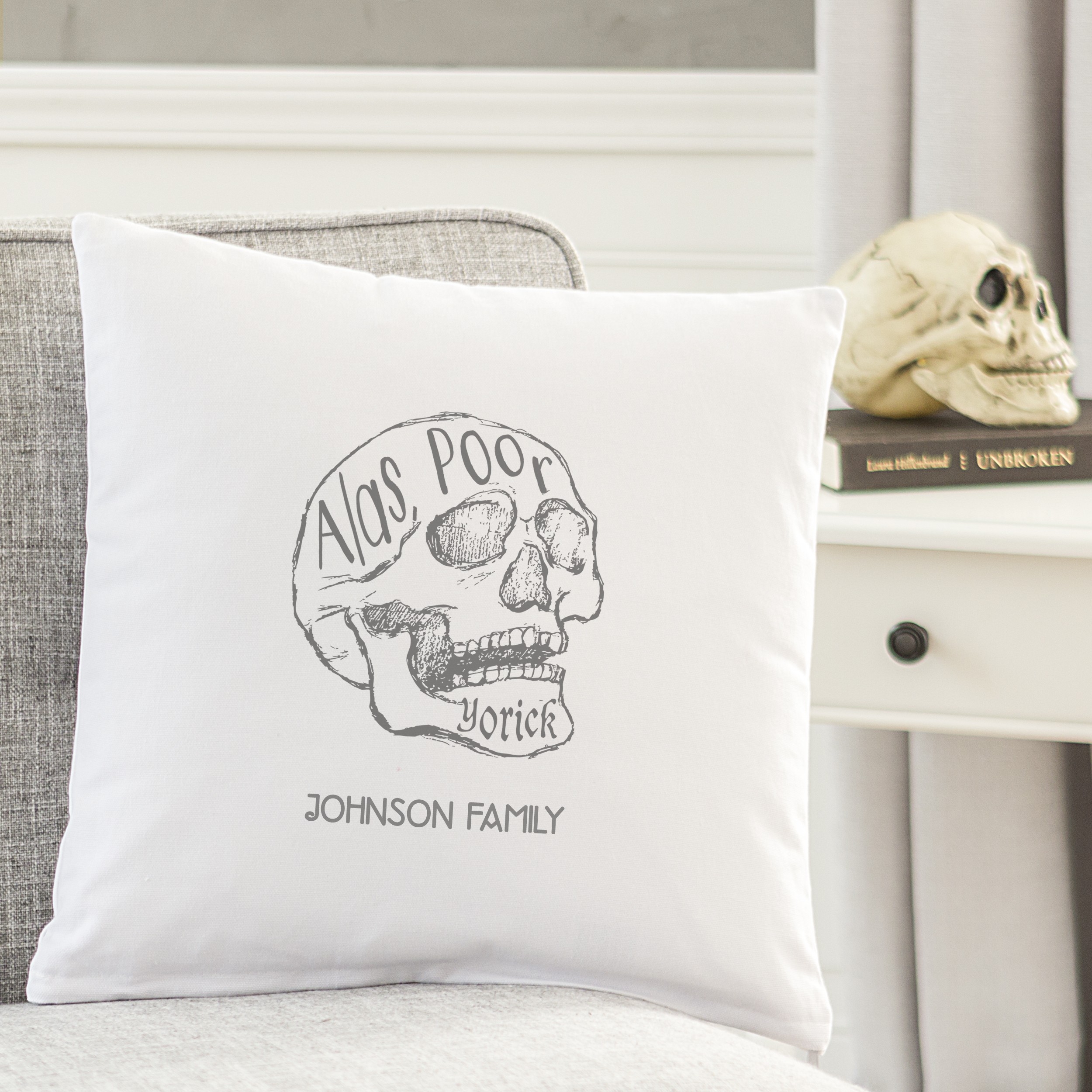 "Personalized ""Alas Poor Yorick"" Throw Pillow"