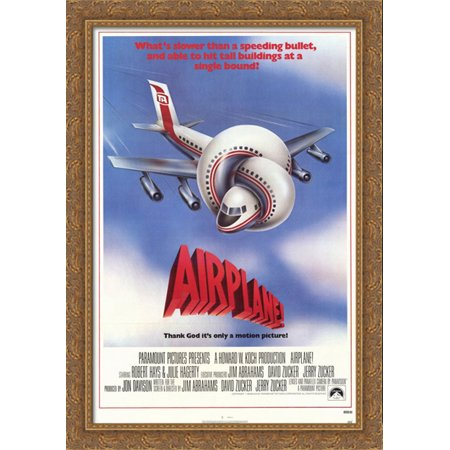Airplane 28x40 Large Gold Ornate Wood Framed Canvas Movie Poster Art
