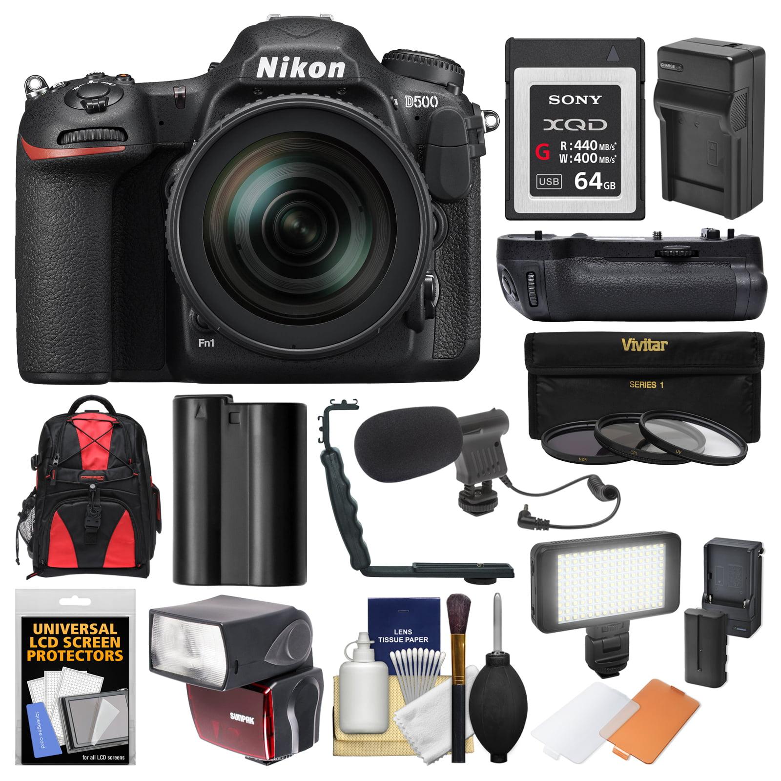 Nikon D500 Wi-Fi 4K Digital SLR Camera & 16-80mm VR Lens with 64GB XQD Card + Case + Flash + Battery Charger +... by Nikon