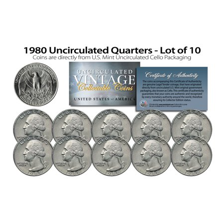 1980 US MINT QUARTERS Uncirculated Coins from U.S. Mint Cello Packs (QTY -