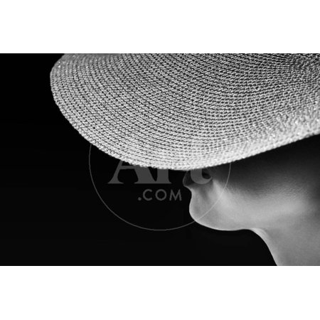 Woman Silhouette in Black and White Photo, Artistic Photo of Woman,Woman in Hat Fragment Photo, Con Print Wall Art By Renata