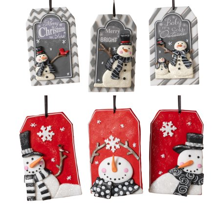 Assorted Clay Dough, Nametag-Shaped Snowman Ornaments (Set of 6)