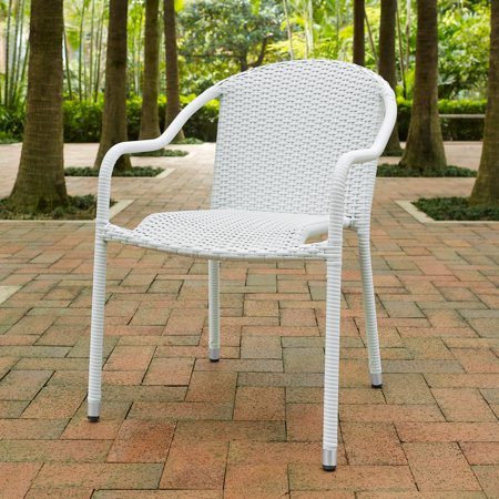 Terrific Crosley Palm Harbor Outdoor Wicker Stackable Chairs Set Of 4 Creativecarmelina Interior Chair Design Creativecarmelinacom