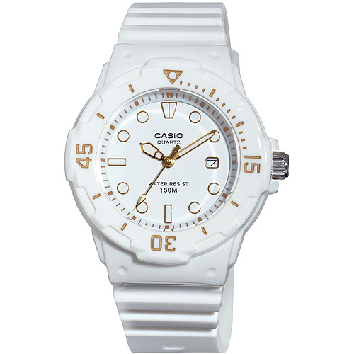 Casio Women's Diver Watch, White Face and White Strap