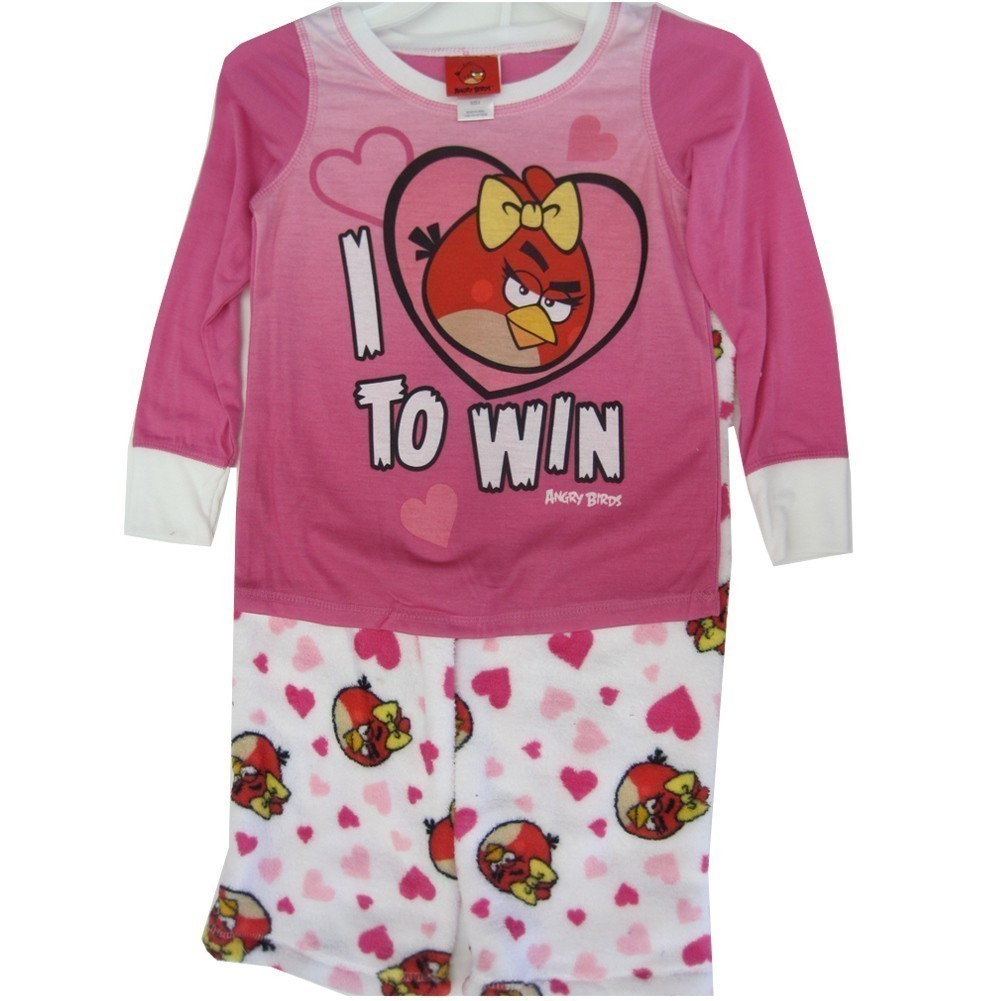 Angry Birds Little Girls White Pink Character Print 2 Pc Pajama Set 8-10