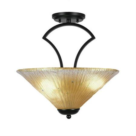 - Zilo Matte Black Three-Light Semi-Flush with 16-Inch Amber Crystal Glass