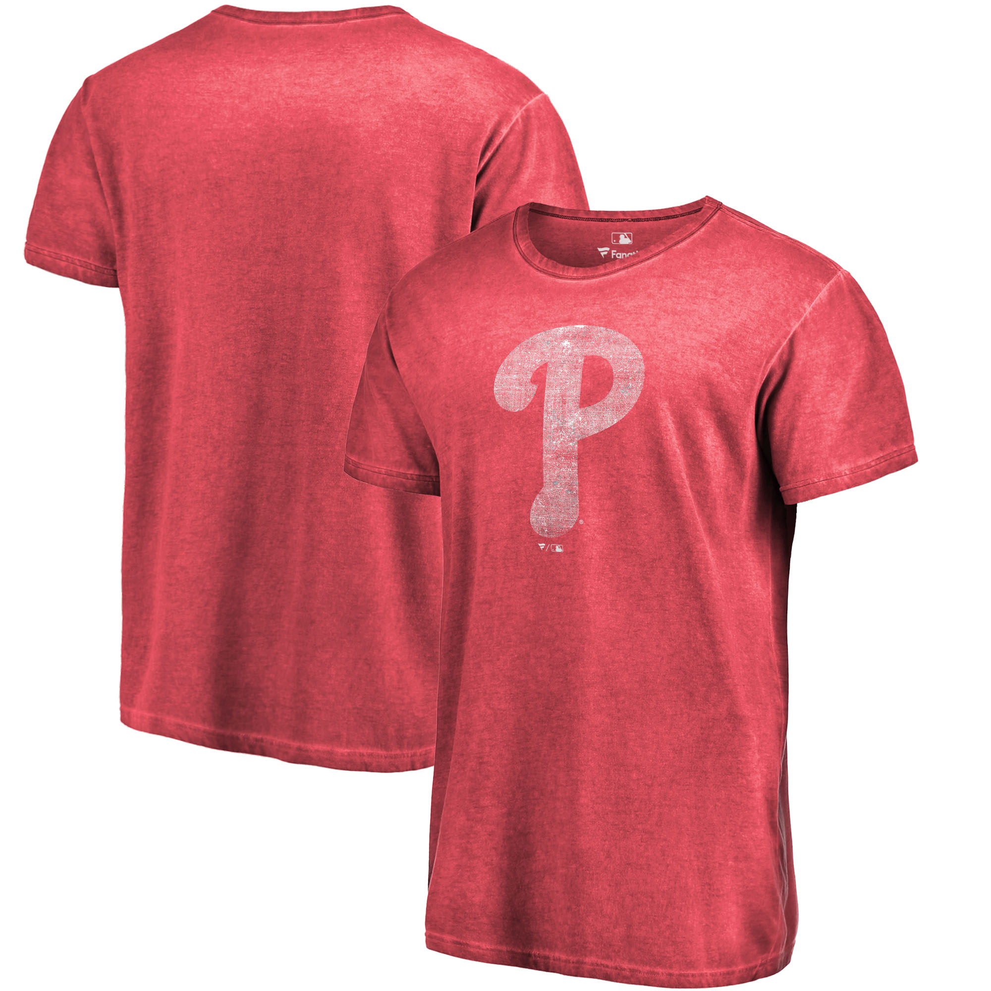 Philadelphia Phillies Fanatics Branded Shadow Washed Logo T-Shirt - Red