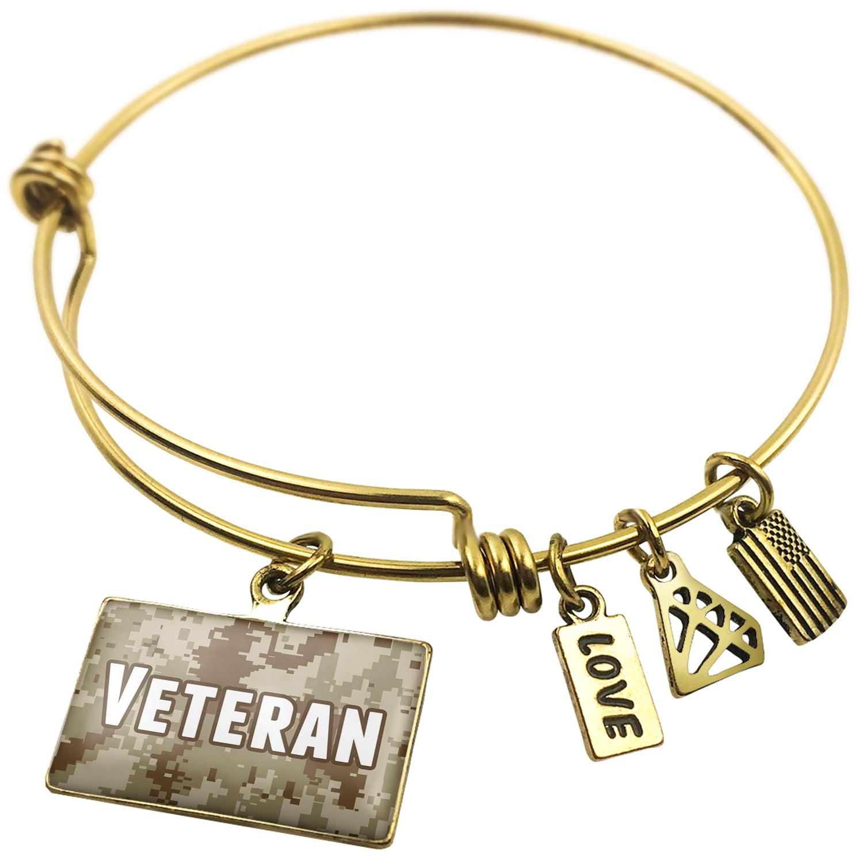 Expandable Wire Bangle Bracelet United States Veteran - NEONBLOND