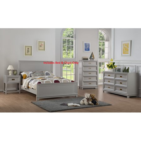 Victoria 2 Piece Full Size Gray Wood Contemporary Kids ...