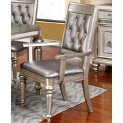 A Line Furniture Glamorous Design Metallic Platinum Dining Arm Chairs with Rhinestone Tufted Buttons (Set of 2)