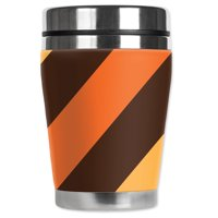 Mugzie brand 12-Ounce Travel Mug with Insulated Wetsuit Cover - Bold Fall Stripes