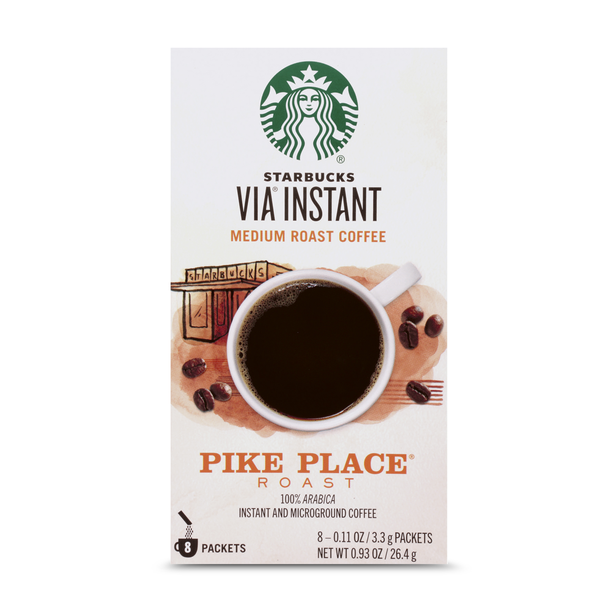 Starbucks VIA Instant Pike Place Roast Medium Roast Coffee (1 box of 8 packets)