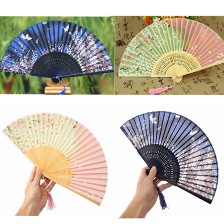 Chinese Lace Silk Bamboo Fabric Flower Wedding Folding Lady Hand Held Dancing Fans Different - Silk Wedding Hand Fan