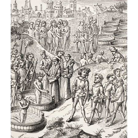 Religious Miniatures - Baptism Of The Saxons Conquered By Charlemagne After A 15Th Century Miniature From Military And Religious Life In The Middle Ages By Paul Lacroix Published London Circa 1880 Stretched Canvas - Ken We