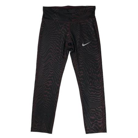 Nike Womens Dri-Fit Power Essential Crop Running Tight Pants Maroon/Black New (S)