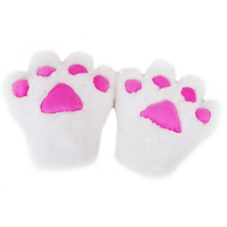 HDE Adult Halloween Costume Cosplay Cute Soft Kitty Cat Girl Paw Gloves (White) (Halloween Cat Face Makeup Adults)