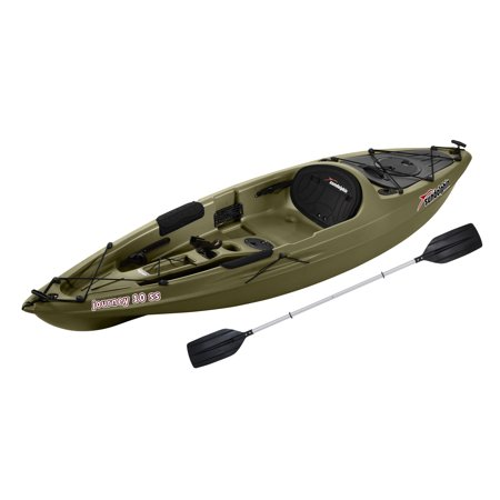 Sun Dolphin Journey 10 SS Sit-On Angler Kayak Olive, Paddle