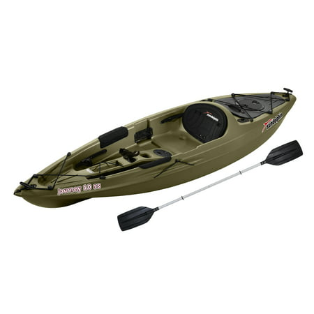 Sun Dolphin Journey 10 SS Sit-On Angler Kayak Olive, Paddle (35384 Dolphin)