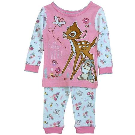 Disney Infant Girls Pink Bambi & Thumper Pajamas Baby Deer & Bunny Sleep Set (Thumpers Girl Bunny)