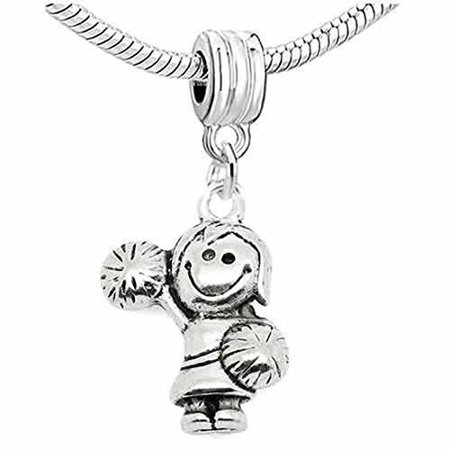 3D Cheerleader Cheer Girl with Pom Poms Dangle European Bead Compatible for Most European Snake Chain Charm (Cheerleader Bead)