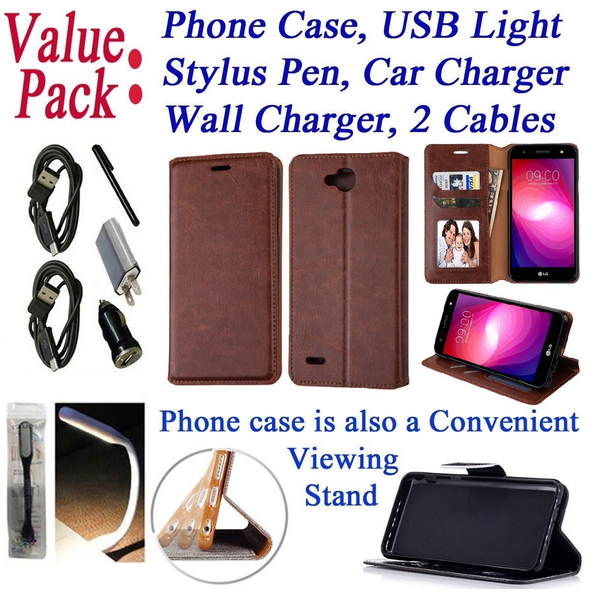 ~Value Pack~ for LG X Power 2 M320F K10 POWER xpower2 Fiesta LTE Xcharge LV7 Case Phone Case Hybrid Wallet Kick Stand Pouch Screen Flip Cover Crayon Tree