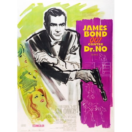 Dr No Sean Connery On French Poster Art 1962 Movie Poster Masterprint