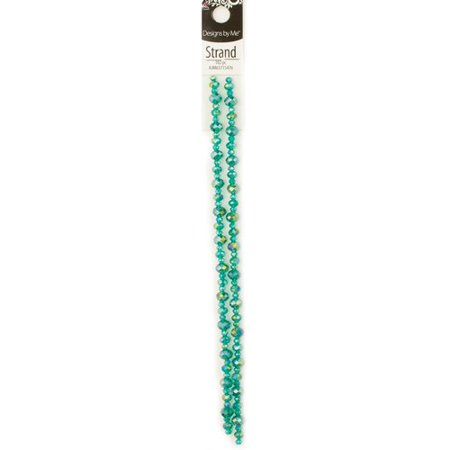 Cousin Glass Teal AB Rondell Crystal Strand, 102 Piece