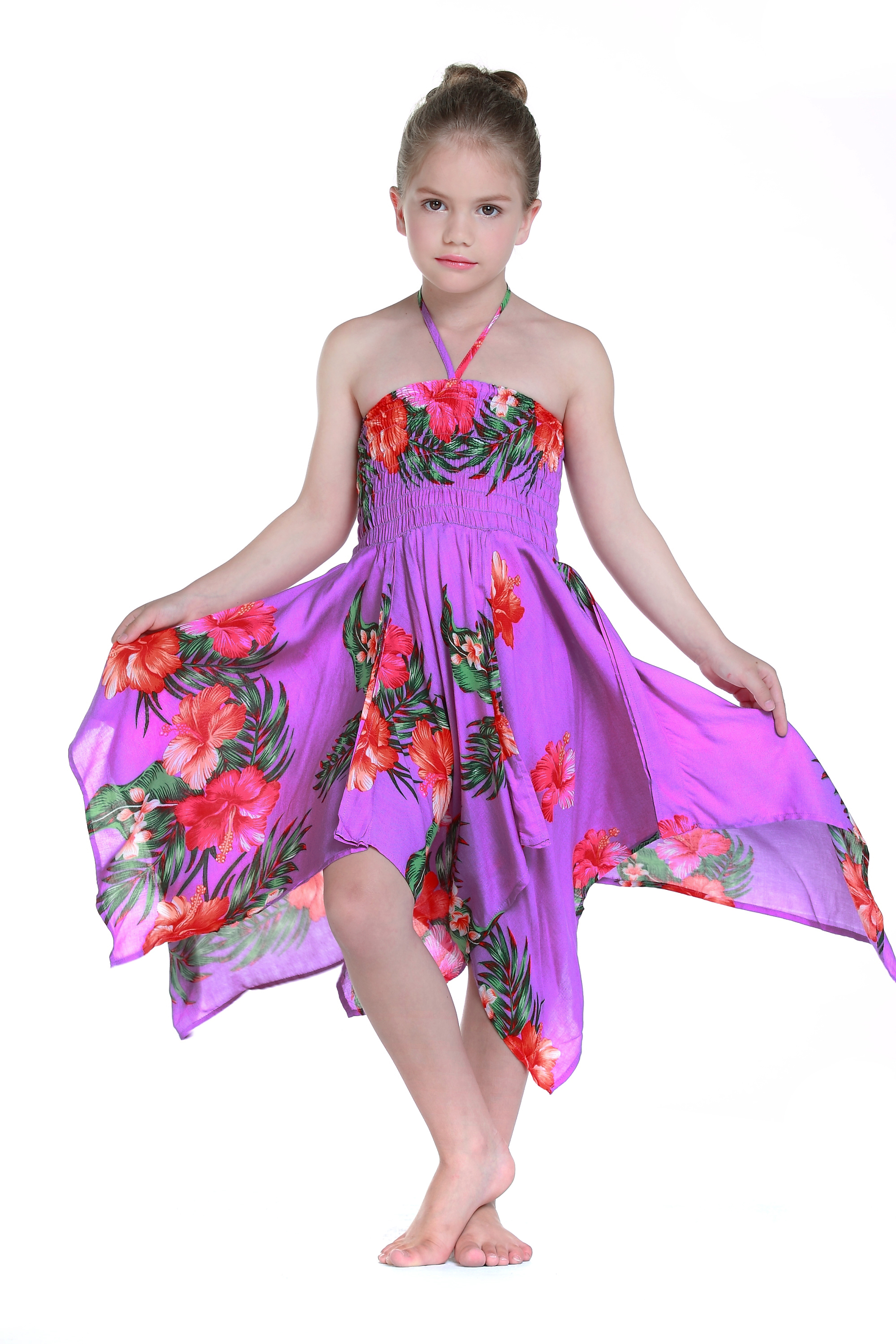 Girl Luau Dress Hawaiian Dress Gypsy Dress Fairy Dress in Purple ...