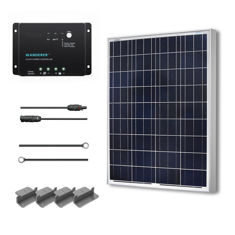 Renogy 100W 12V Solar Panel Polycrystalline Off Grid Starter Kit with Wanderer Charger Controller