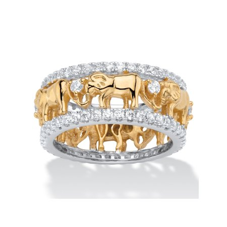 Round Cubic Zirconia Two-Tone Elephant Parade Eternity Ring 1.40 TCW 18k Yellow Gold-Plated