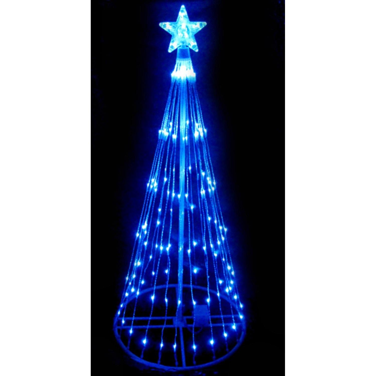 4' Blue LED Light Show Cone Christmas Tree Lighted Yard Art Decoration