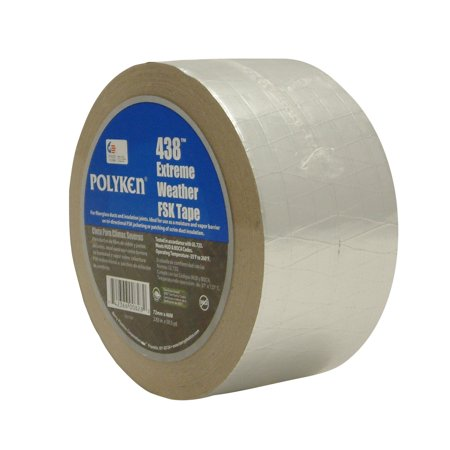 Weather Foil Tape - Polyken 438X Extreme Weather FSK (Foil/Scrim/Kraft) Tape: 3 in. x 50 yds. (Silver)