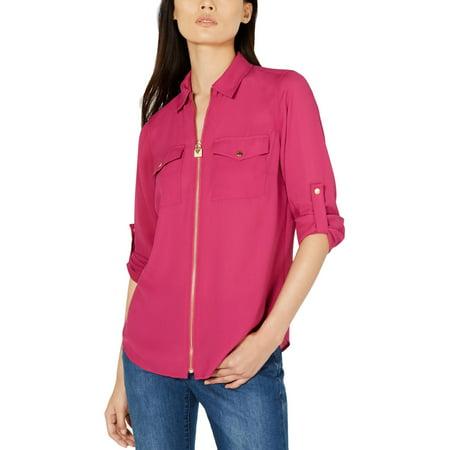MICHAEL Michael Kors Womens Lock Zip Up Blouse Pink L Michael Kors Womens Blouse