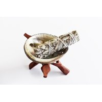 Smudging Ceremony Travel Kit: Polished Abalone Shell + Wooden Tripod Stand + White Sage Stick