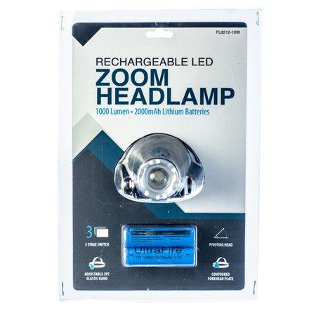 ASR Outdoor 1000 Lumen Zoom Rechargeable Pivoting Headlamp