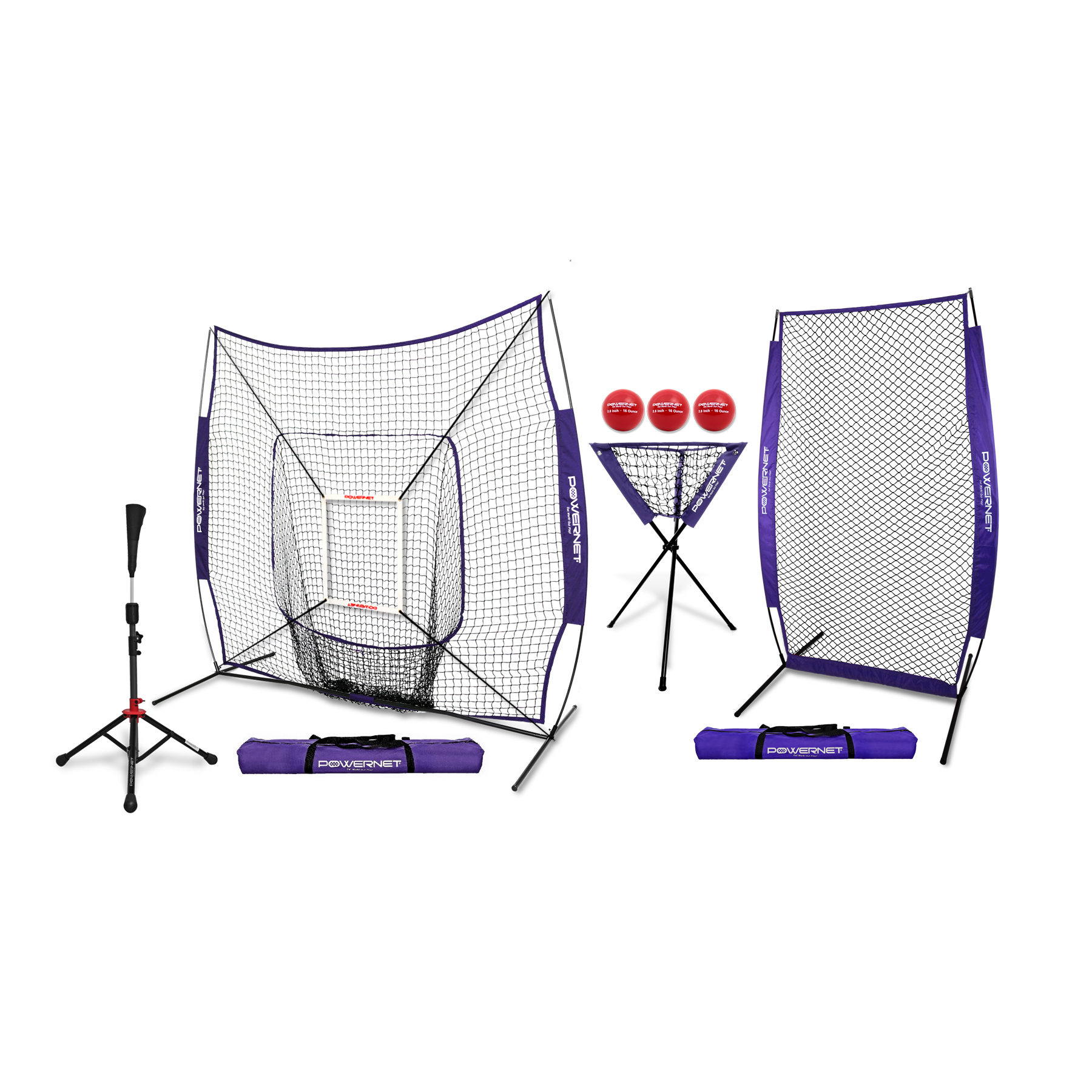 PowerNet Baseball Softball DLX ALL IN ONE Practice Net Bundle