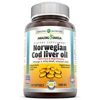 Amazing Omega Norwegian Cod Liver Oil Softgels, Lemon, 1000 Mg, 250 Ct
