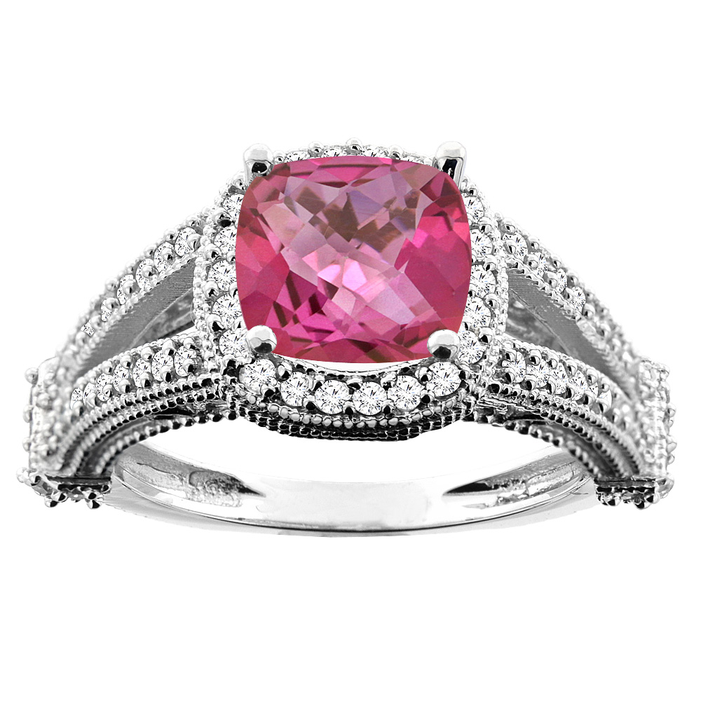 10K White Gold Natural Pink Topaz Split Shank Ring Cushion 7x7mm Diamond Accent, size 6 by Gabriella Gold