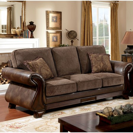 Stupendous Furniture Of America Elyna Microfiber And Brown Leather Sofa Uwap Interior Chair Design Uwaporg