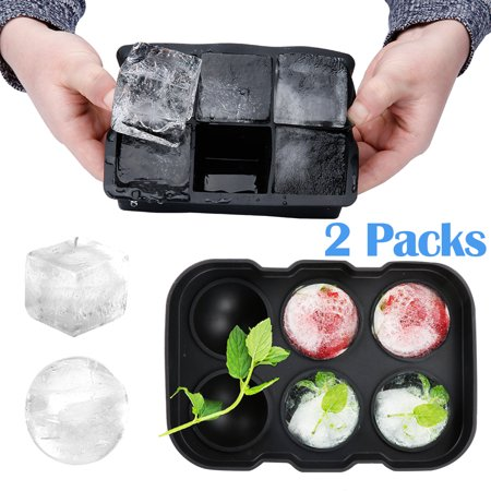 Ice Cube Trays Silicone Combo Molds Sphere Ice Ball Maker with Lid & Large Square Molds, Reusable and BPA Free