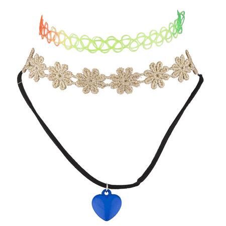 Lux Accessories Rainbow Tattoo Blue Heart Love Flower Choker Set (3PCS)