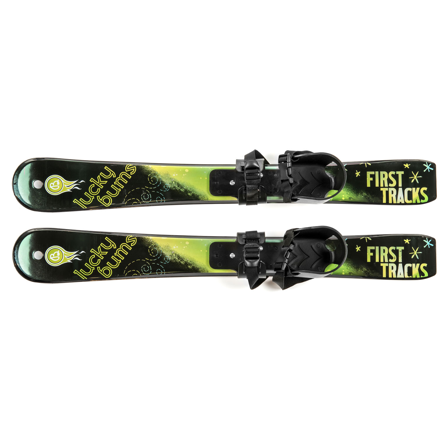 Kids BeginnerSnow Skis without Poles, 70cm, Green Black by Lucky Bums