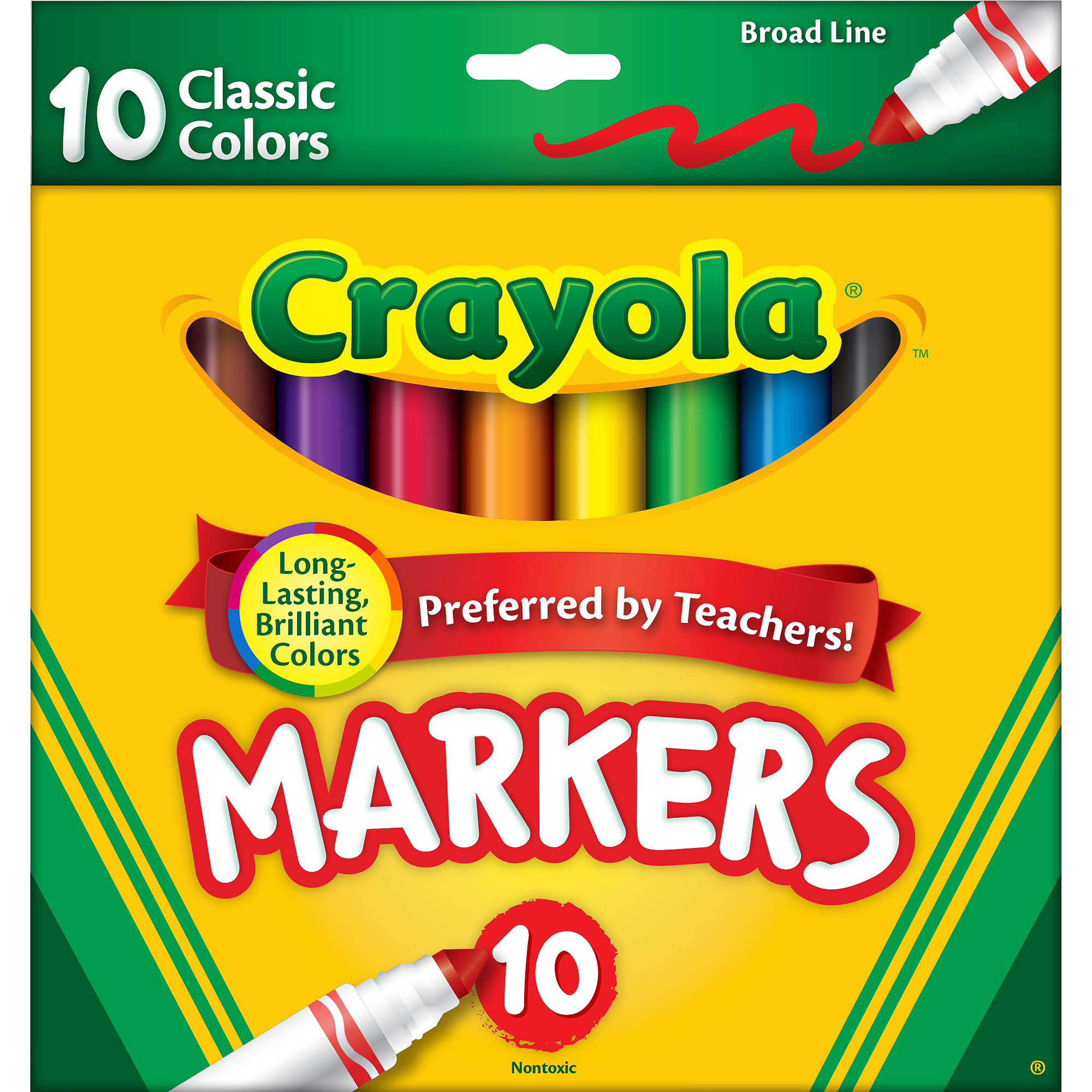 Crayola Classic Broad Line Markers, 10-Count