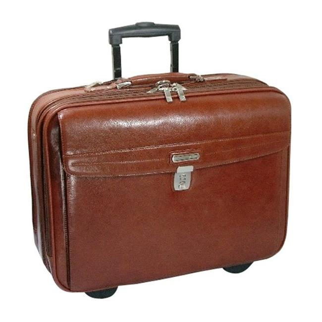K-Cliffs Full Grain Leather Executive Rolling Laptop Briefcase 19 x 14.5 x 6 in. Brown