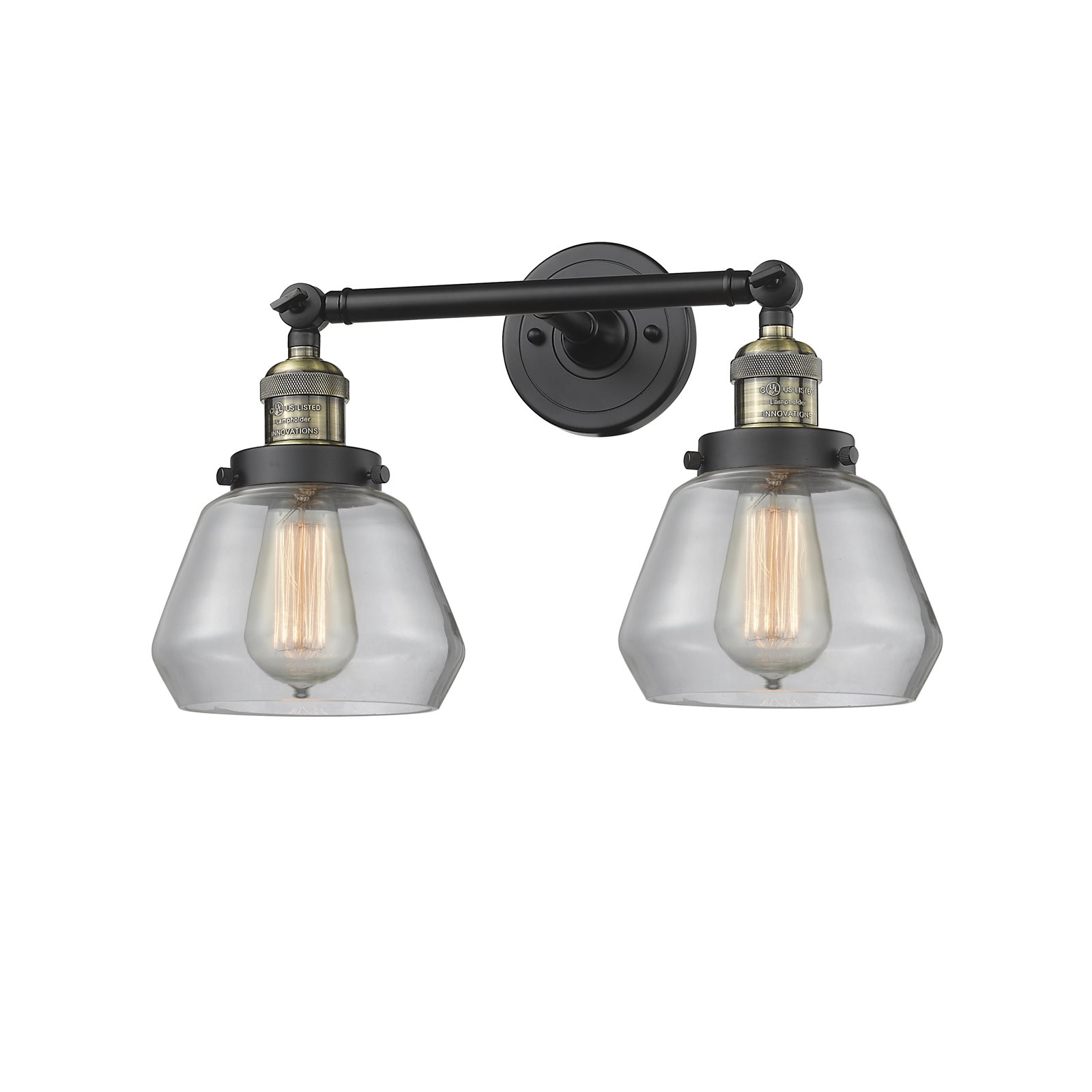 "Innovations 2-LT LED Fulton 16.5"" Bathroom Fixture Black Brushed Brass 208-BBB-G172-LED by"