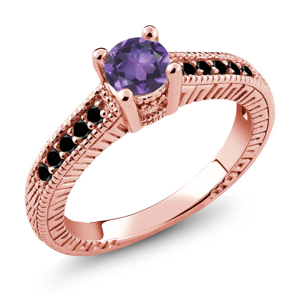 0.62 Ct Round Purple Amethyst Black Diamond 925 Rose Gold Plated Silver Ring