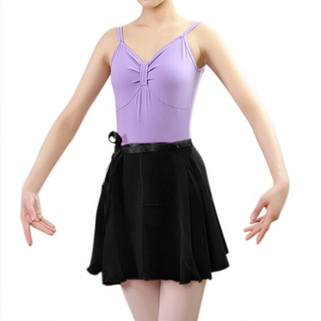 - GOGO TEAM Child & Adult Sheer Wrap Skirt Ballet Skirt Ballet Dance Dancewear-Black-ADULTL