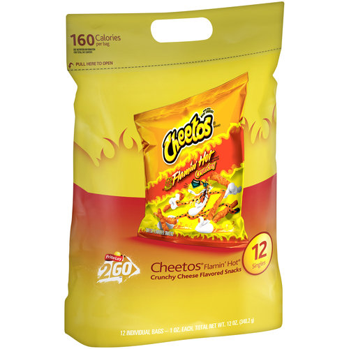 Cheetos Crunchy Flamin' Hot Cheese Flavored Snacks, 12 count