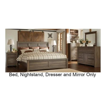 Ashley B251565899313692 Juararo Collection King Size Panel Bed With Dresser Mirror Nightstand