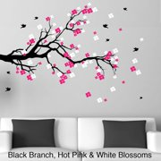 Decal the Walls Cherry Blossom Branch with Birds Vinyl Wall Art Decal